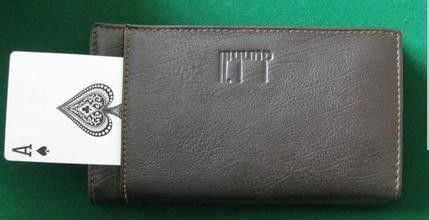 Black Leather Man Style Wallet Poker Cheat Device , Poker Cheat Tools
